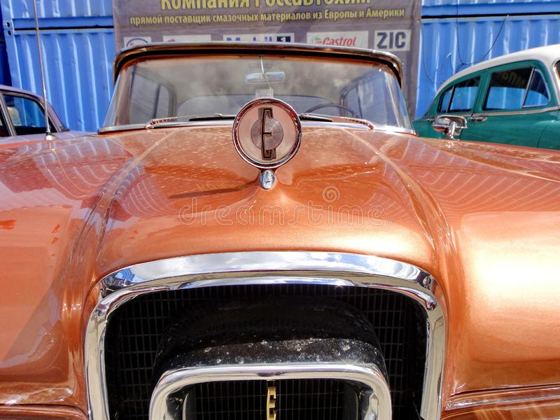 Exhibition of retro cars. Brown car `Ford Edsel Corsair`, year of manufacture 1958, power 257.3 HP, USA stock images