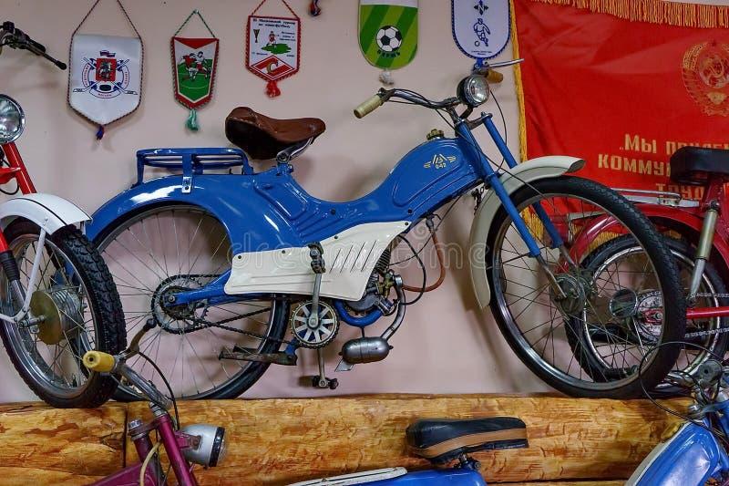 Exhibition of retro cars. Motorbike MV-042 `from Lvov» produce 1963. royalty free stock photo