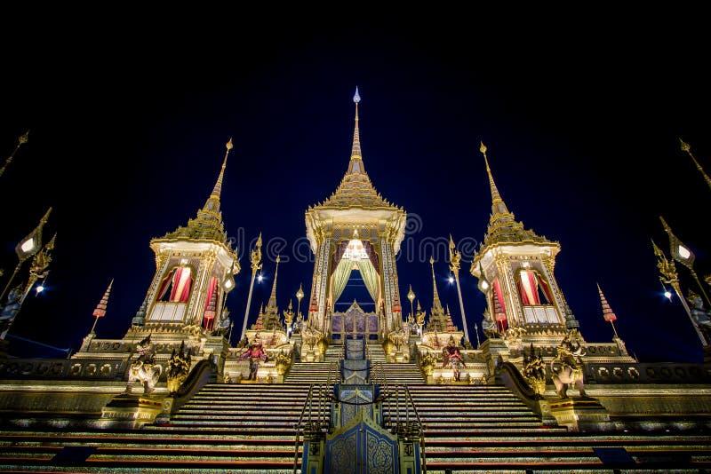 Exhibition on royal cremation ceremony,Sanam Luang Ceremonial Ground,Bangkok,Thailand on November7,2017: Royal Crematorium for the. Phra Merumas Golden stock photo