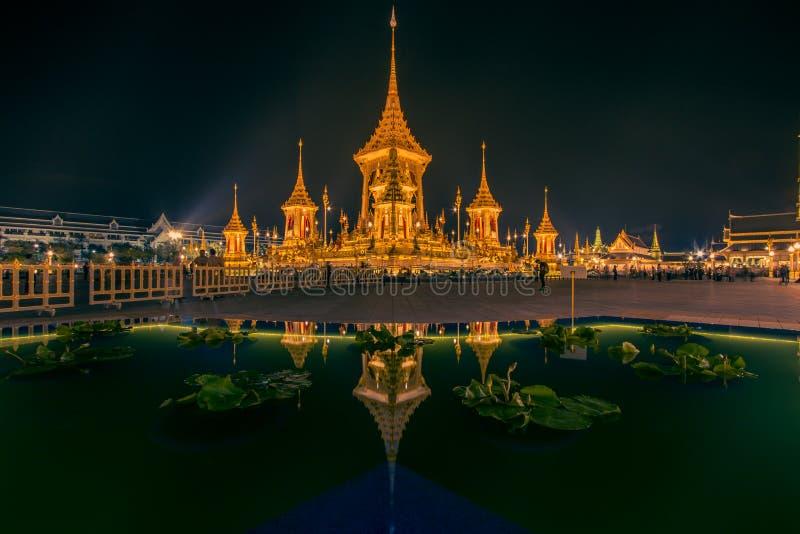Exhibition on royal cremation ceremony,Sanam Luang Ceremonial Ground,Bangkok,Thailand on November7,2017: Royal Crematorium for the. Phra Merumas Golden stock images