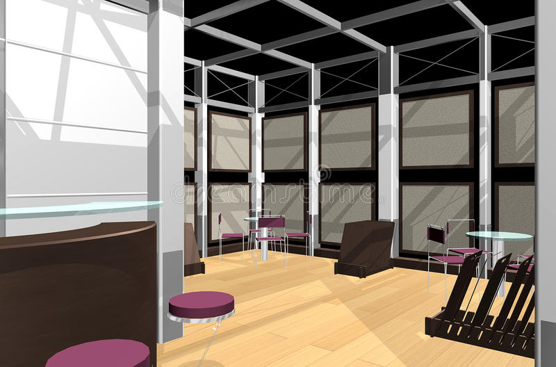 Download Exhibition stand stock illustration. Image of room, cafeteria - 13837856