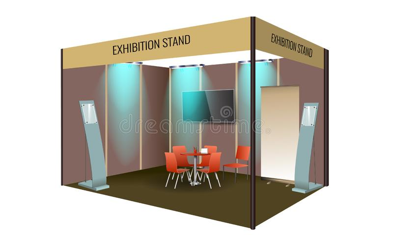 Exhibition stand display design with table and chair, info board. Commercial exhibition Booth template for Corporate. Exhibition stand display design with table stock illustration