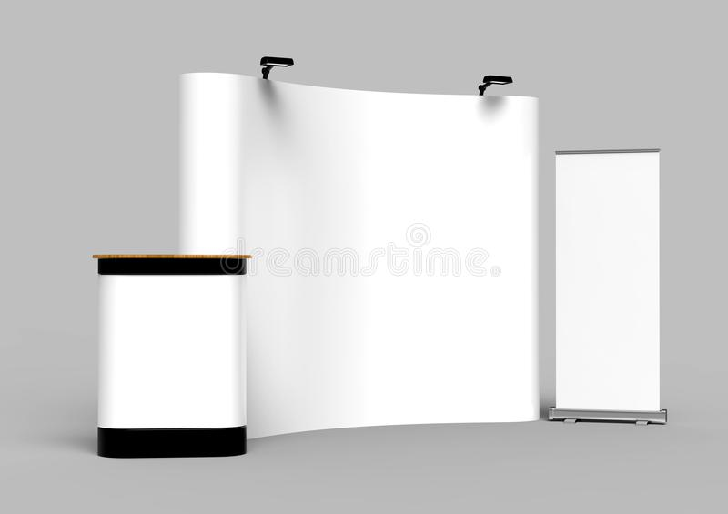 Exhibition Tension Fabric Display Banner Stand Backdrop for trade show advertising stand with LED OR Halogen Light with standees a royalty free illustration