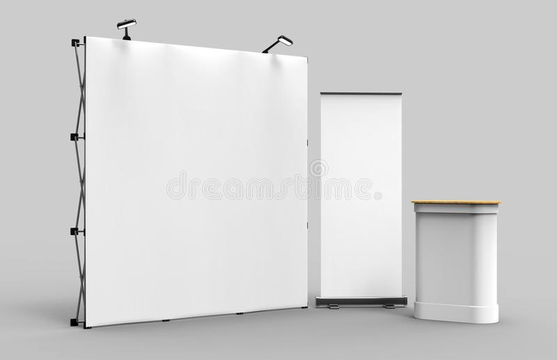 Exhibition Tension Fabric Display Banner Stand Backdrop for trade show advertising stand with LED OR Halogen Light with standees a. Nd counter royalty free stock images