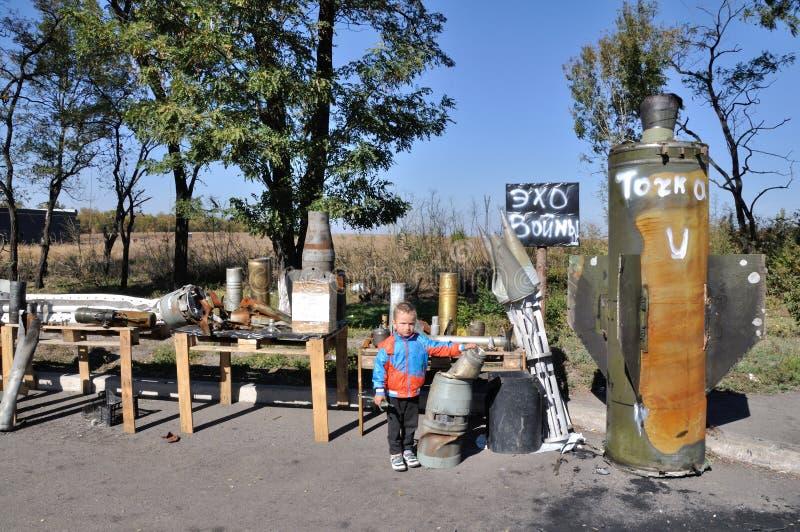 Exhibition trophy shells separatists. Ukraine. stock image
