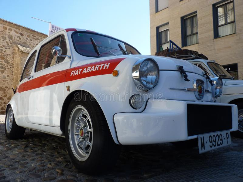 Exhibition of vintage cars, Seat 600 Abarth, 2018 in Talavera de la Reina, Spain. Exhibition of vintage cars, February 24, 2018 in Talavera de la Reina, Spain stock image