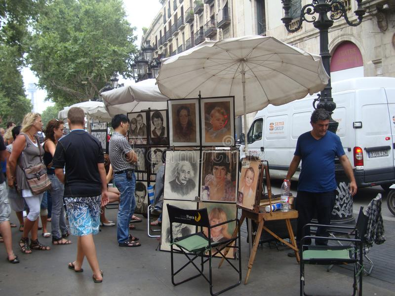 Exhibition of works by street artists at La Rambla royalty free stock photos