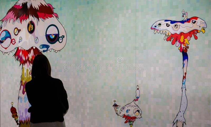 Exhibition of works by Takashi Murakami, Garage Museum, January 6, 2018, Russia, Moscow. Exhibition of works by Takashi Murakami, Garage Museum, January 6, 2018 stock photos