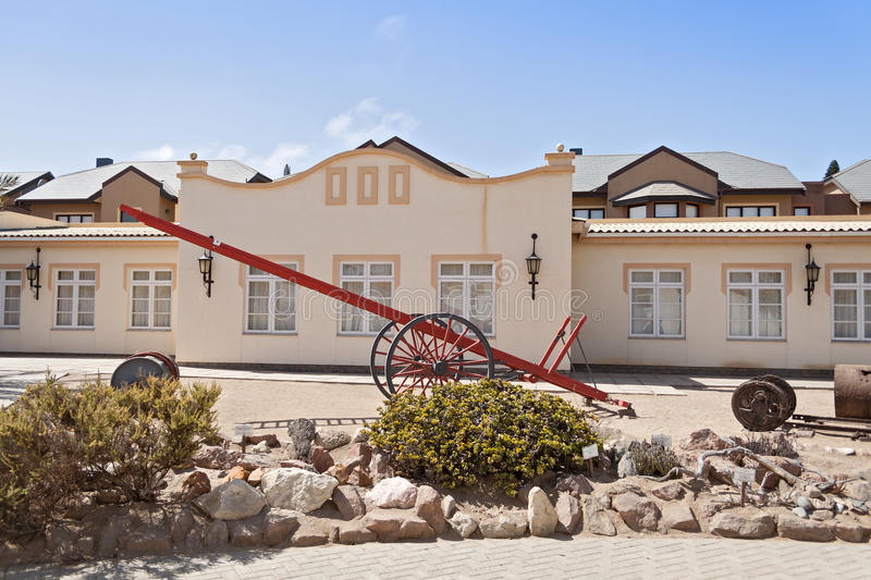 Exhibitions of the Swakopmund Museum on the site of the former Otavi railway station. Namibia stock photography
