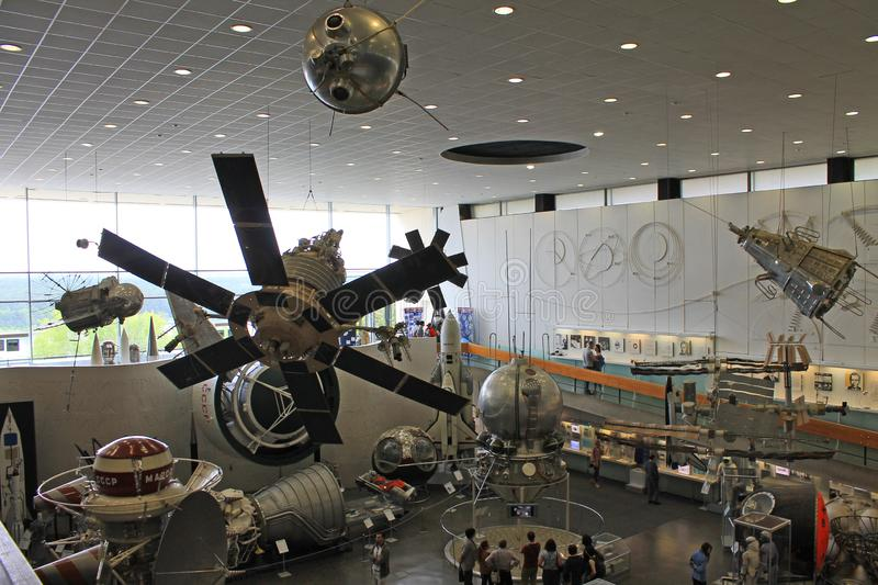 Exhibits in the interior of the Museum of cosmonauts in Kaluga Russia. Historical exhibits and aircraft in the interior of the Museum of cosmonauts in Kaluga stock photos