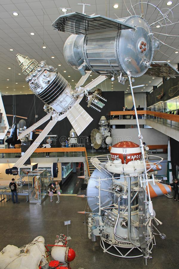 Exhibits in the interior of the Museum of cosmonauts in Kaluga Russia. Historical exhibits and aircraft in the interior of the Museum of cosmonauts in Kaluga royalty free stock photography