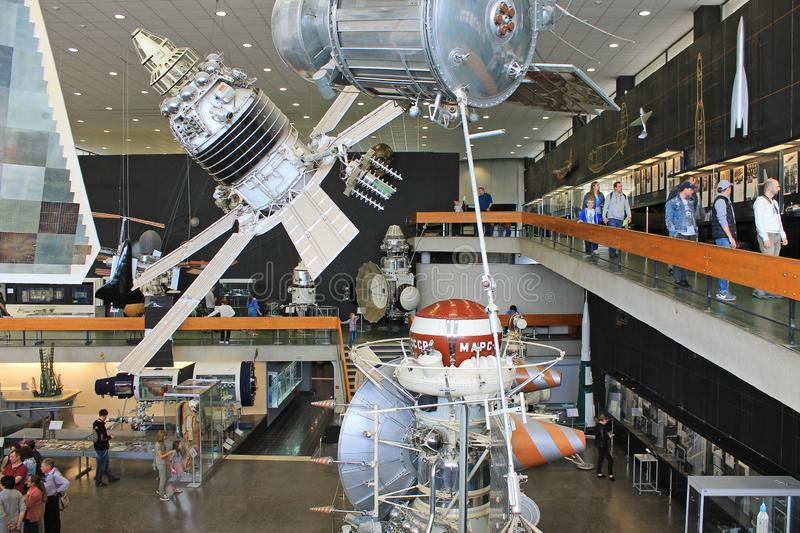 Exhibits in the interior of the Museum of cosmonauts in Kaluga Russia. Historical exhibits and aircraft in the interior of the Museum of cosmonauts in Kaluga stock photography