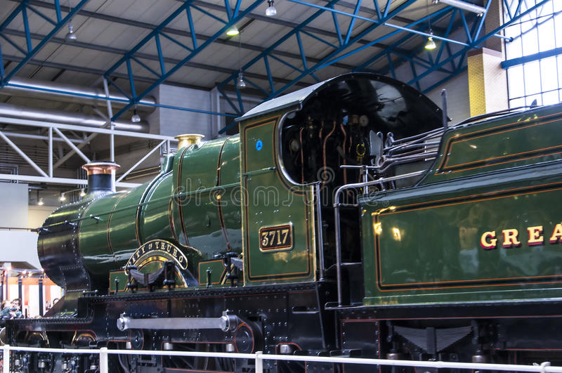 Exhibits in the National Railway Museum in York, Yorkshire England. The National Railway Museum in York displays a collection of over 100 locomotives and nearly royalty free stock photo