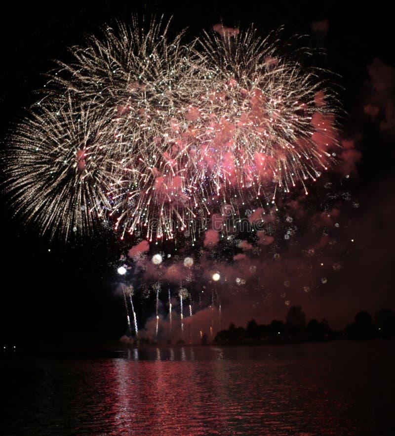 Exibição Colorida do Fireworks foto de stock