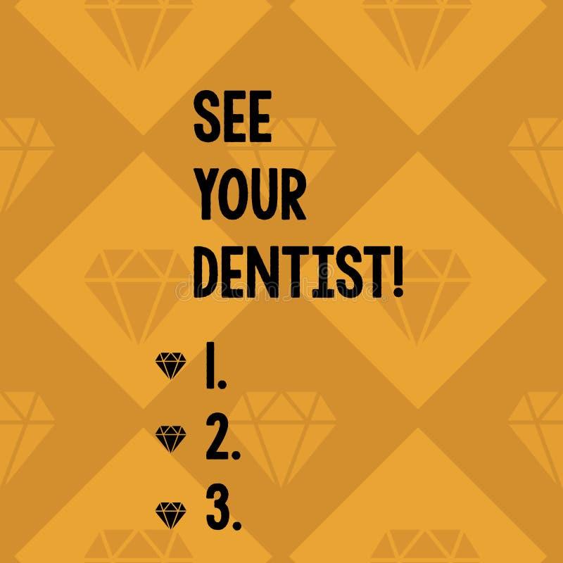 A exibição conceptual da escrita da mão considera sua foto de Business do dentista apresentar para ir a examinar quem é treinado  ilustração royalty free