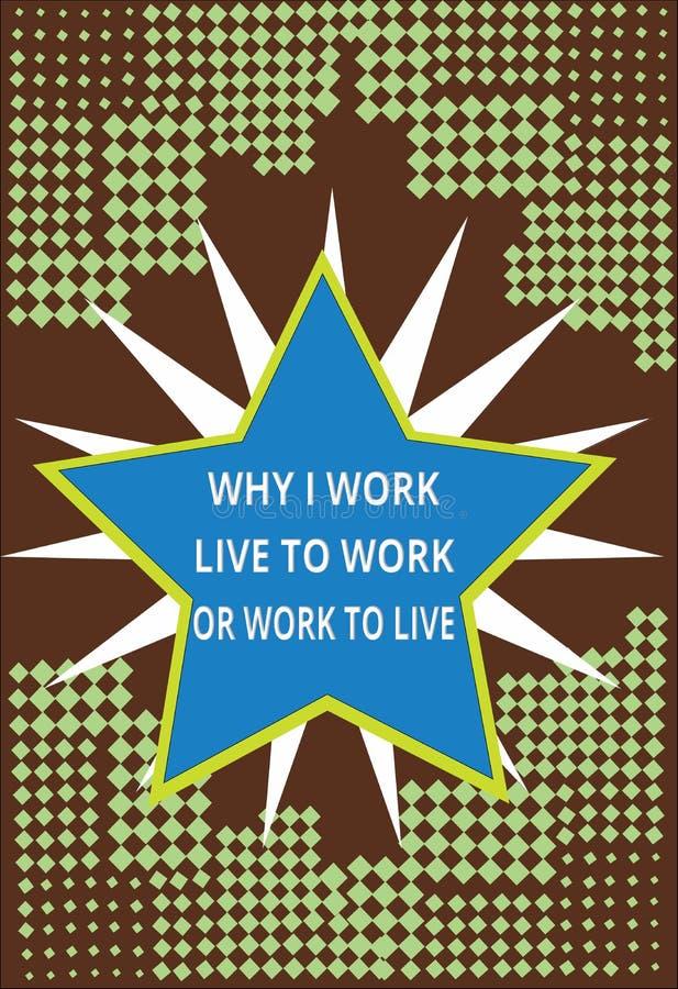 Exibição conceptual da escrita da mão porque eu trabalho Live To Work Or Work para viver Texto da foto do negócio que identifica  ilustração royalty free