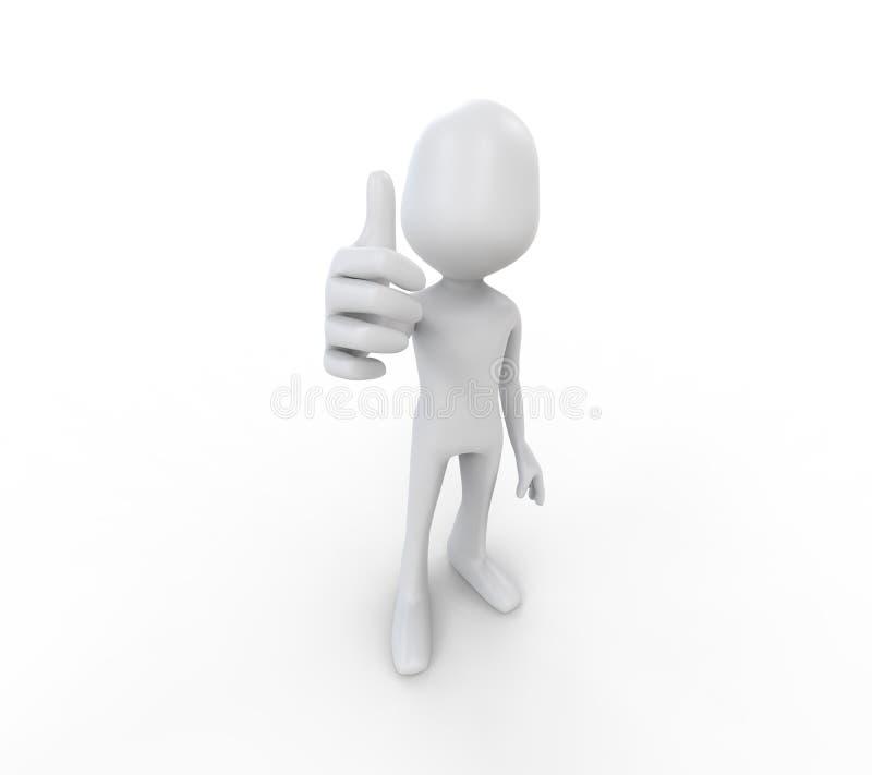 exibição 3D humana com o polegar acima ilustração do vetor