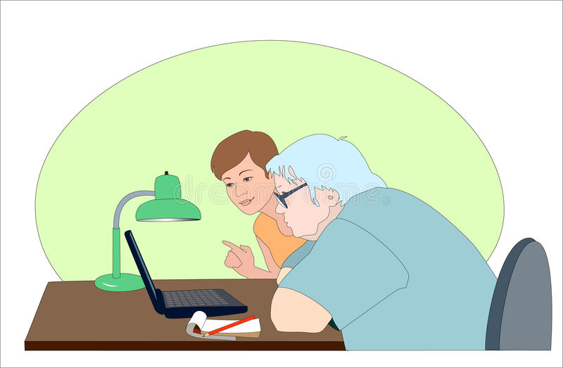 A exibição da menina confundiu a mulher idosa como usar o regaço ilustração stock
