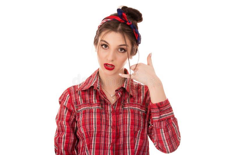 A exibição da mulher chama-me para assinar o gesto com mão fotos de stock royalty free