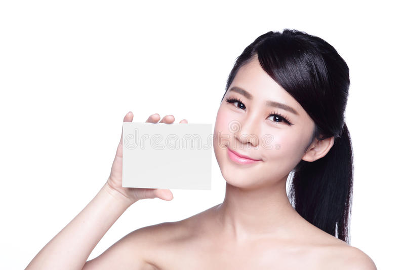 Exibição da mulher dos cuidados com a pele da beleza foto de stock royalty free