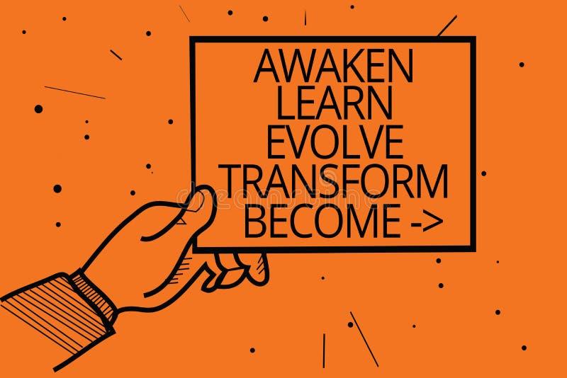 A exibição da nota da escrita desperta aprende evolui transforma tornado A motivação apresentando da inspiração da foto do negóci ilustração stock
