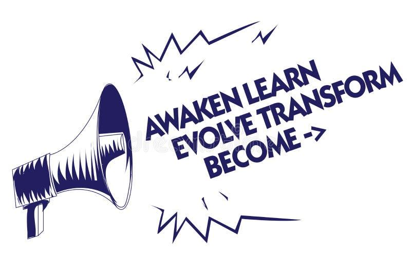 A exibição da nota da escrita desperta aprende evolui transforma tornado A motivação apresentando da inspiração da foto do negóci ilustração do vetor