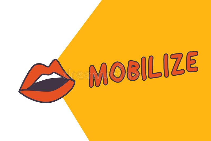 A exibição da nota da escrita mobiliza Apresentar da foto do negócio faz algo móvel ou capaz do movimento para preparar-se distri ilustração stock
