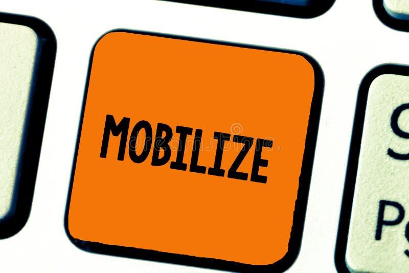 A exibição da nota da escrita mobiliza Apresentar da foto do negócio faz algo móvel ou capaz do movimento para preparar-se distri ilustração do vetor
