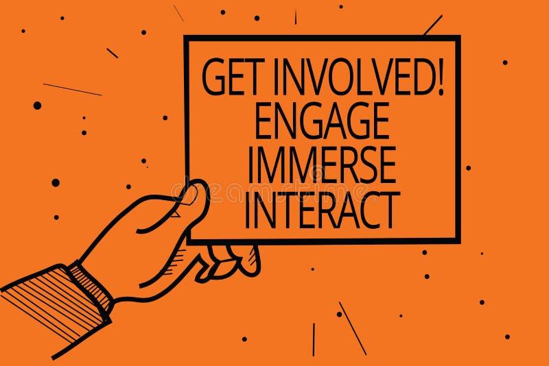 A exibição da nota da escrita obtém involvida contrata imerge interativo Apresentar da foto do negócio junta-se conecta participa ilustração do vetor