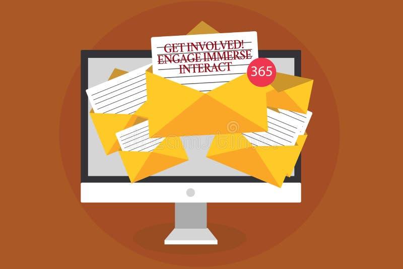 A exibição da nota da escrita obtém involvida contrata imerge interativo Apresentar da foto do negócio junta-se conecta participa ilustração stock