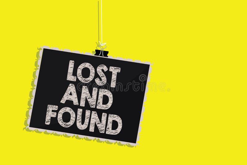 Exibição da nota da escrita perdida e encontrada Lugar apresentando da foto do negócio onde você pode encontrar o serviço de pesq ilustração royalty free