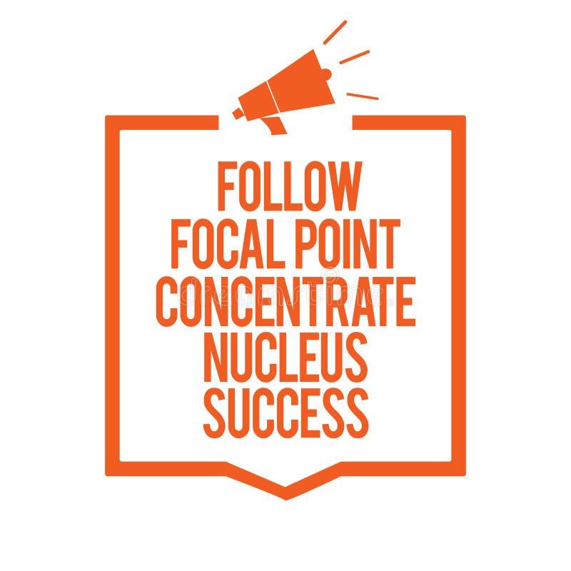 A exibição da nota da escrita segue o sucesso do núcleo do concentrado do ponto de foco A concentração apresentando da foto do ne ilustração stock