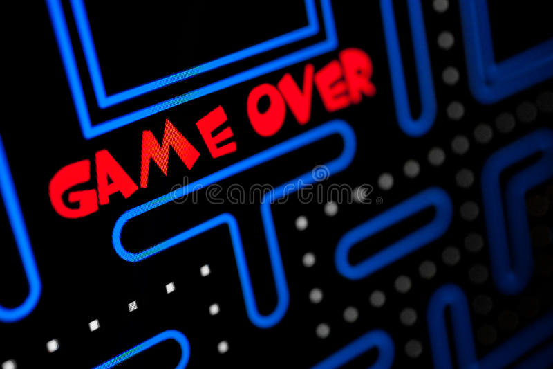 Exibição da tela que o jogo se acaba fotos de stock
