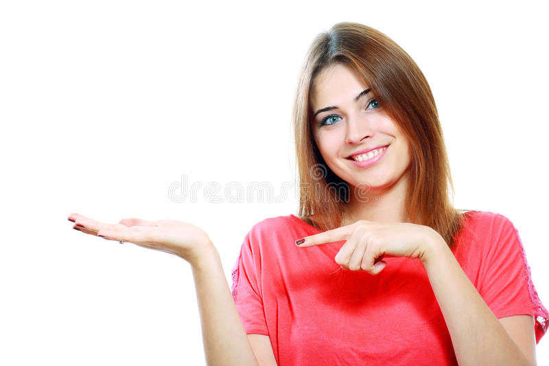 Exibição de sorriso da mulher imagens de stock