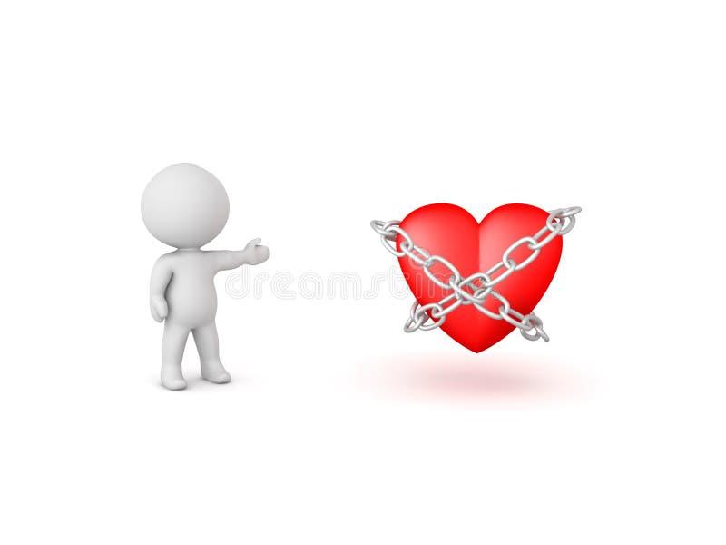 exibição do caráter 3D acorrentada acima do coração ilustração royalty free