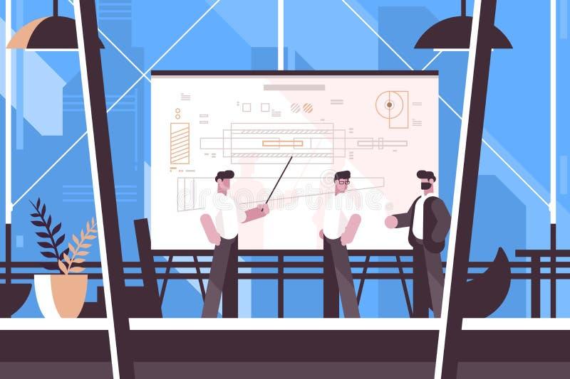 Exibição do coordenador do homem na informação do quadro-negro ilustração stock
