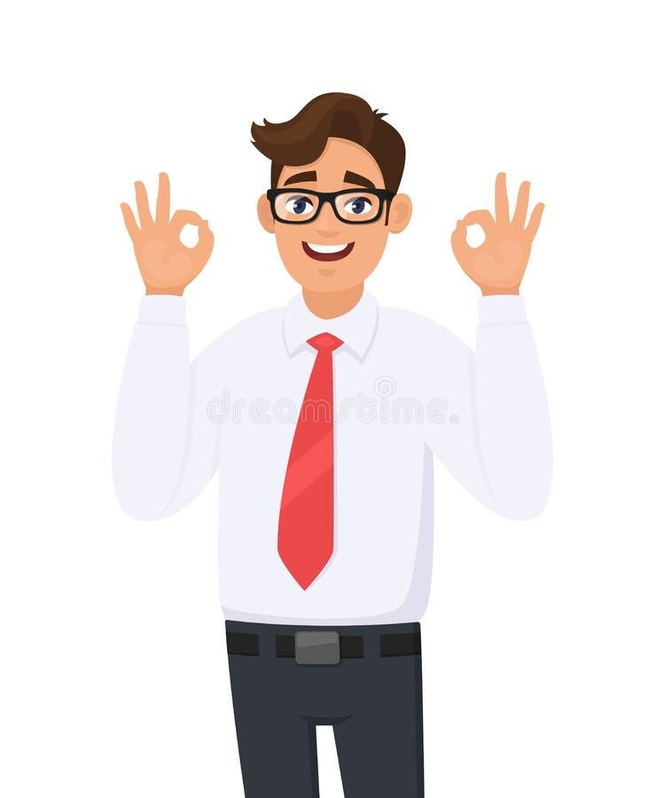 Exibição do homem de negócio/gesticular novos alegres consideráveis/que faz o sinal da aprovação ou da aprovação com dois mãos e  ilustração do vetor