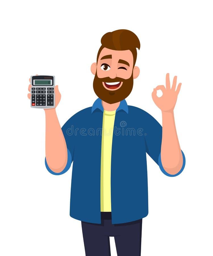 Exibição do homem novo ou guardar o dispositivo digital da calculadora à disposição e gesticular, fazendo a aprovação ou o sinal  ilustração royalty free