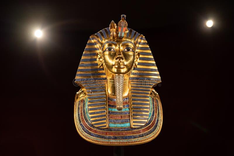 Exibição do rei Tutankhamun Egyptian na exposição no museu de Oregon da ciência e da indústria fotos de stock