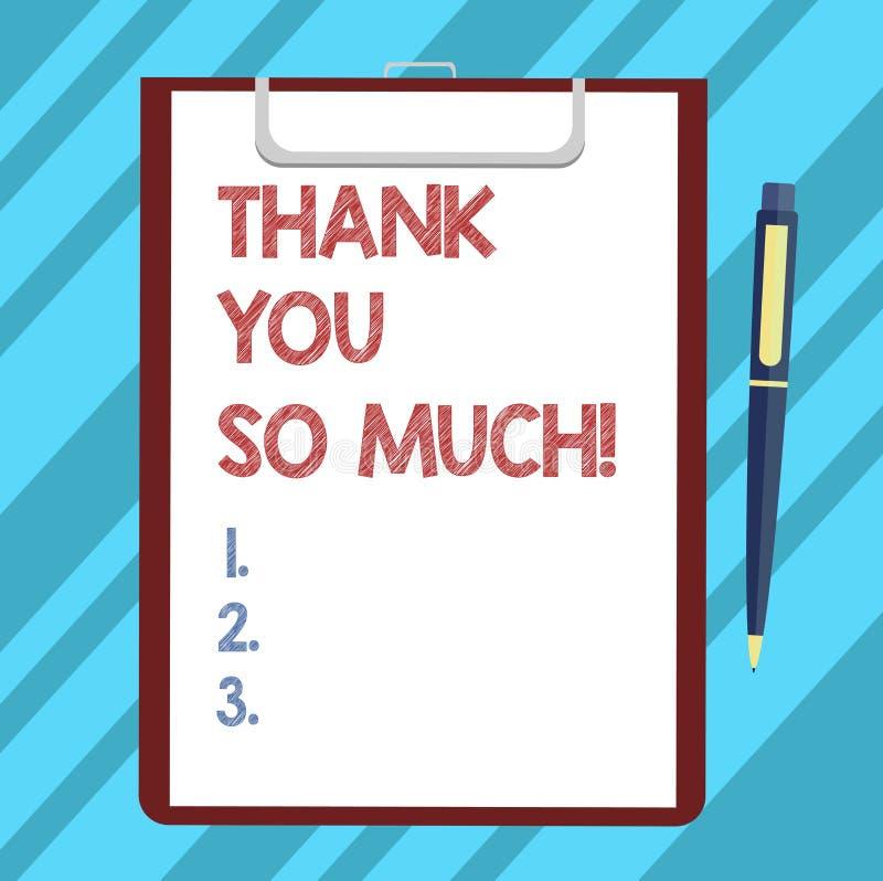 A exibição do sinal do texto agradece-lhe tanto Expressão conceptual da foto de cumprimentos da gratitude da folha vazia da aprec ilustração royalty free