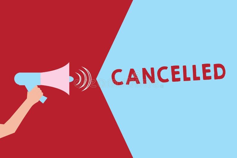 A exibição do sinal do texto cancelou A foto conceptual para decidir ou anunciar esse evento de planeamento não ocorrerá terra ar ilustração stock