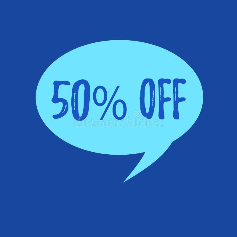 Exibição 50 do sinal do texto fora Desconto conceptual da foto de cinqüênta por cento sobre o afastamento da venda da promoção do ilustração stock