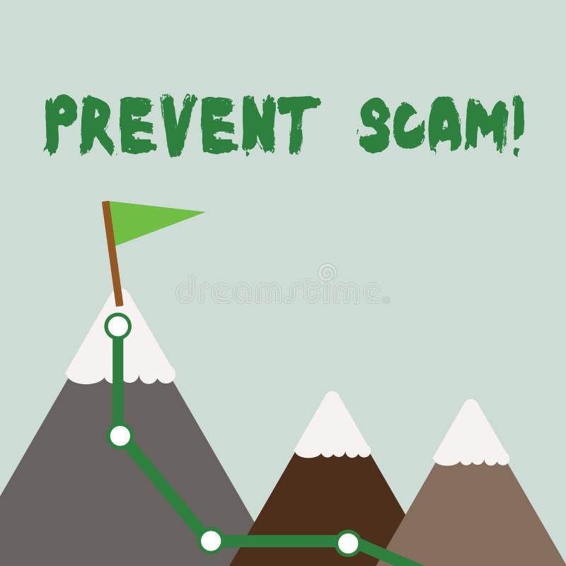 A exibição do sinal do texto impede Scam Transações fraudulentas conceptuais da proteção ao consumidor da foto três montanhas com ilustração stock