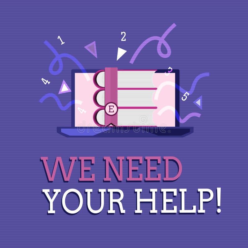 Exibição do sinal do texto nós precisamos sua ajuda Auxílio conceptual Grant do benefício do proveito do apoio do auxílio do serv ilustração do vetor