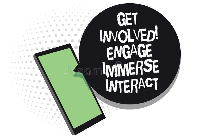 A exibição do sinal do texto obtém involvida contrata imerge interativo A foto conceptual junta-se conecta participa no receiv do ilustração royalty free