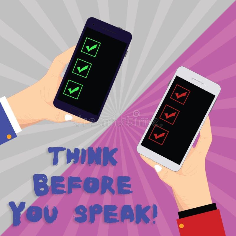A exibição do sinal do texto pensa antes que você fale A foto conceptual considera o que você está indo dizer antes o fazer duas  ilustração do vetor