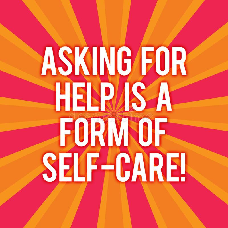 A exibição do sinal do texto que pede a ajuda é um formulário do cuidado do auto A foto conceptual esteja aberta pedir o apoio em ilustração stock