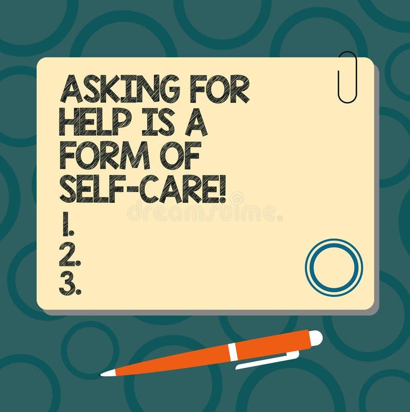 A exibição do sinal do texto que pede a ajuda é um formulário do cuidado do auto A foto conceptual esteja aberta pedir o apoio em ilustração royalty free