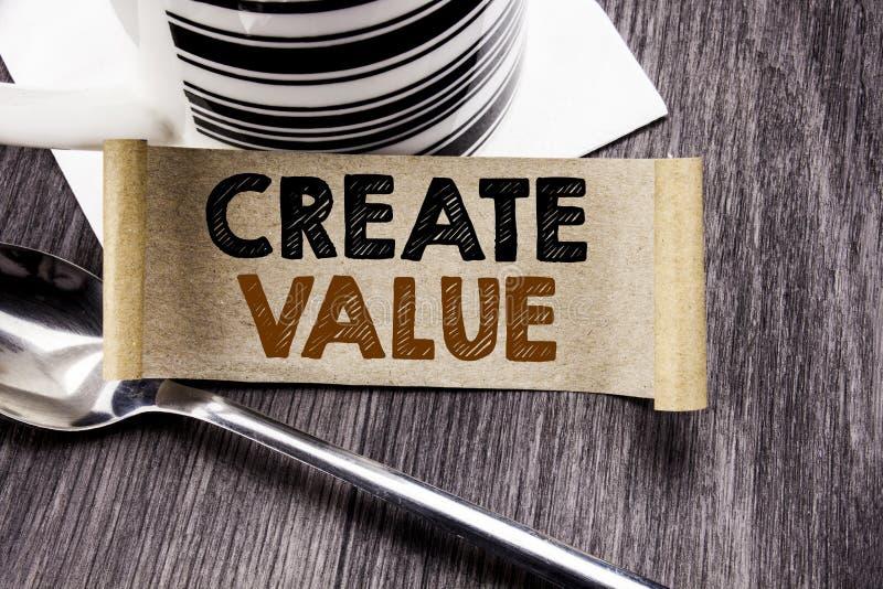A exibição do texto do anúncio da escrita cria o valor Conceito do negócio para criar a motivação escrita no papel de nota pegajo ilustração do vetor