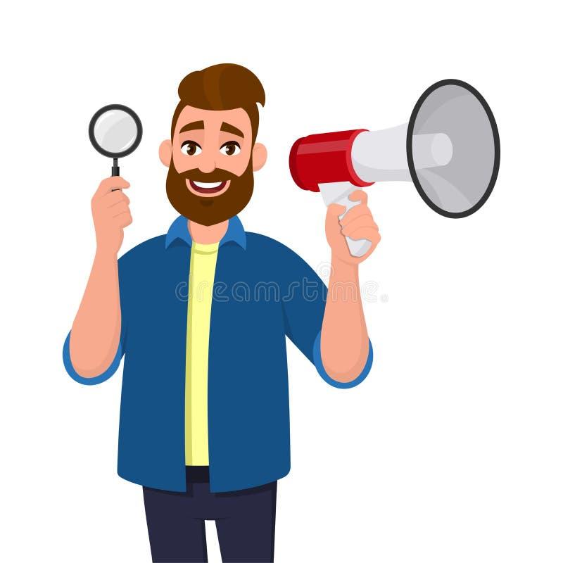 Exibição farpada feliz do homem novo/altifalante lupa guardar e megafone/para anunciar a notícia Busca, achado, descoberta ilustração do vetor